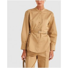 Girl's Belted Overshirt Oroton Golden Olive XLXGJNM