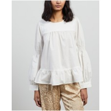 Girl's Blouse with Cuffs and Voluminous Body Coster Copenhagen White Breathable Design KTNUAKH