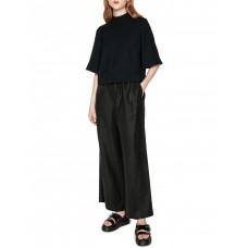 Cue Women's Crepe Cropped Top Black Peasant For Sale MQNQXMD - 100% Polyester
