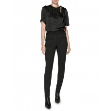 Cue Women's Draped Satin Ruched Shoulder Top Black Exercise outfits OQHUOSU - 100% Polyester