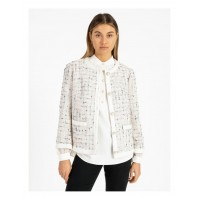 Anne Klein Womens Space Dyed Tweed Collarless Jacket With Cotton Tape Trim Anne White/Devonshire outlet JUXTJAB - 100% Polyester