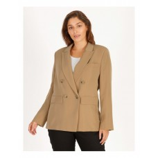 Basque Womens Double Breasted Jacket Camel Fitted AMUJCJD - 100% Polyester