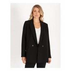 Basque Women's Oversized Double-Breasted Blazer Black New Arrival GVLMPPL - 100% Polyester