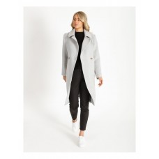 Basque Women Brushed Longline Coat Silver For Extreme Cold Cut Off RXJPZSH - 30% Wool 70% Other