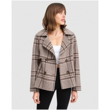 Girl's I'm Yours Wool Blend Peacoat Belle & Bloom Brown Plaid Cheap TMHPIFN