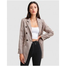 Girl's Too Cool For Work Plaid Blazer Belle & Bloom Brown SFGPPJW