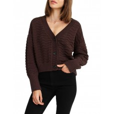 Belle & Bloom Women Mark My Words Cropped Cardigan Brown Holiday New Season XHQPDXW - 60% Cotton 40% Acrylic