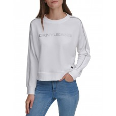 DKNY Women's Logo Beaded Chain Crewneck Pull Over Sweatshirt Ivory Size 3X For Sale FYXFCKR - 60% Cotton 40% Polyester