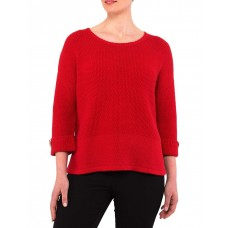 PINGPONG Womens Textured Pullover Red Holiday new look OUZJUXP - 100% Cotton