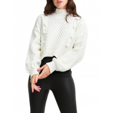 Belle & Bloom Women's Higher Love Cropped Cable Knit Jumper Cream Cost RQOKCQT - 60% Cotton 40% Acrylic