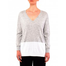 PINGPONG Women's Colour Block Pullover Knit Greymarle/Ivory Online Wholesale BJJGFPY - 54% Polyester 20% Acrylic 20% Nylon 6% Wool