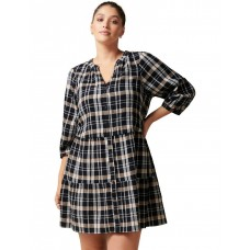 Forever New Curve Womens Mabel Curve Gingham Smock Dress Winter Check on style CWDPKZO - 95% Cotton 4% Polyester 1% Elastane. Lining: 100% Viscose