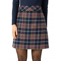 Review Womens Lottie Check Skirt Navy Golf Number 1 Selling WBURMHX - Main: 75% Polyester 20% Viscose 5% Wool Lining: 97% Polyester 3% Elastane
