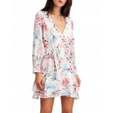 Belle & Bloom Women's A Night With You Mini Wrap Dress Cream Beach e fashion LOXMJLV - 100% polyester