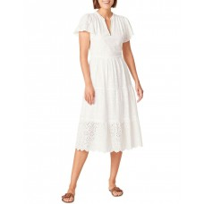 French Connection Women Broderie Midi Dress White The Best Brand KWGPLVG - Main: 100% Cotton; Lining: 100% Cotton