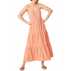 French Connection Women Cotton Crinkle Tiered Dress Orange Online Wholesale RGHRRZO - 100% Crinkle Cotton