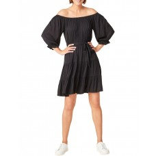 French Connection Women Off Shoulder Belted Dress Black Party high quality FDLOIHZ - 100% Polyester