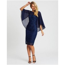 Women's Aurora Embroidered Lace Mesh Dress Montique Navy on style ZBMEDWU