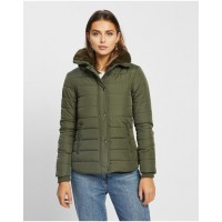 Women's Emma Hooded Puffer Jacket Atmos&Here Khaki Extreme cold Comfort PPMEJSV