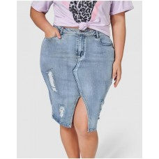 Girl's Funkdafied Distressed Denim Skirt Sunday In The City MID WASH ORIDITX