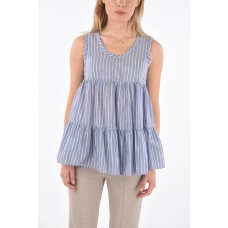 Brunello Cucinelli Women's Striped Silk and Cotton Sleeveless Top Number 1 Selling P308669 YTHLEMO