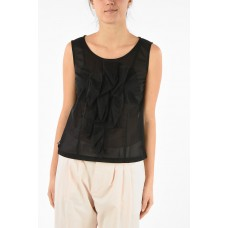 Comme Des Garçons Women's Tulle Sleeveless Top with Back Zip Closure Clearance P284724 USIABXD