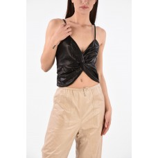 DROMe Women's Leather Top P295762 FHLJSUF