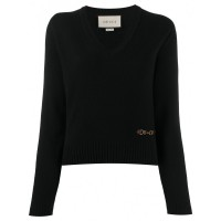 Women's Clothing GUCCI Cashmere V-necked Top Lightweight 843173548 JAQUTQF