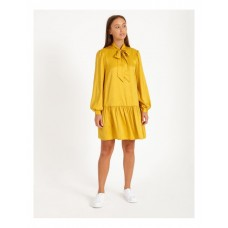 Hi There From Karen Walker Women's Jacquard Pussy Bow Dress Mustard Cheap UASNJLO - 100% Polyester