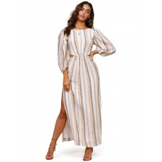Ministry Of Style Women's Seventies Soul Stripe Maxi Dress Multi Olive Size L Collection OOEWRVU - 100% Linen