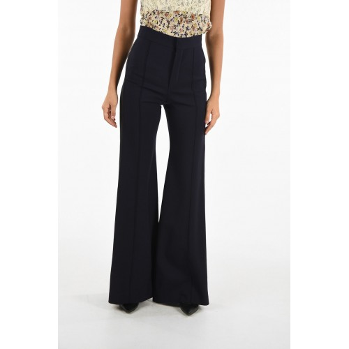 Chloe Women's Single Pleat Flare Pants with Contrasting Side Bands P252910 TJRQXRP