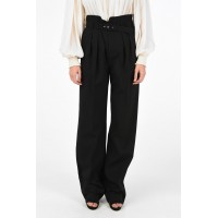 Red Valentino Women's high-rise waist double pleat trousers with Belt Clearance Sale QHTXBZN