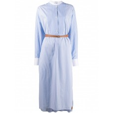 Clothing LOEWE Cotton Shirtdress With Leather Belt Going Out Latest Fashion 840558709 LOKHCUY