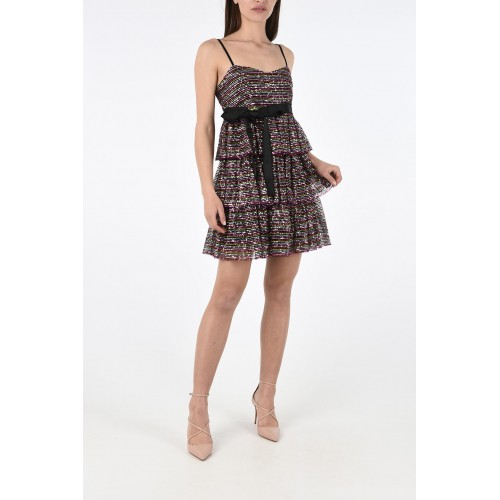 Red Valentino Women's Two Tone Sequined Flounced Mini Dress For Wedding Guest Sale P299432 HTEFBUZ