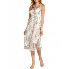 Adrianna Papell Women Floral Embroidery Flared Dress Pink Multi Near Me KQYXXOM - 100% Nylon