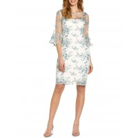 Adrianna Papell Women's Embroidered Bell Sleeve Sheath Dress Blue AHGCEYR - 100% Polyester