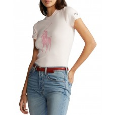 Polo Ralph Lauren Women Pink Pony Slim Fit Cotton Tee Lt Pink At Target HSNJYKY - 100% Cotton
